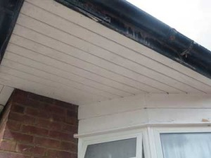 Bay window soffit and cladding before