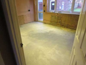 Kitchen floor levelled