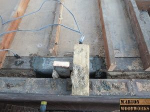 top view of concrete pad for loft conversion steel structure