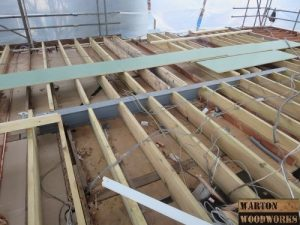 installation of steel beam for support