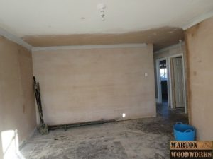 plastering of living room wall