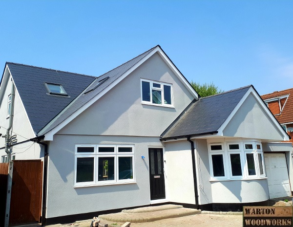 hip to gable loft conversion completed in grey render