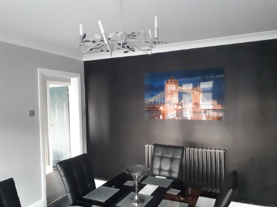 modern dining room wall feature
