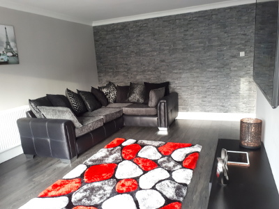 modern living room feature wall slate effect PVC sheets